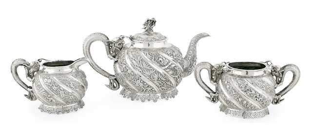 Kan Mao Hsing Chinese Export Silver Teaset