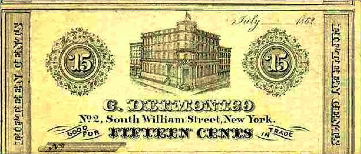Delmonico 15 cent Bill