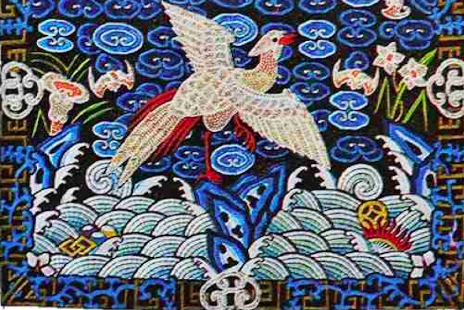 Chinese kingfisher-inspired tapestry