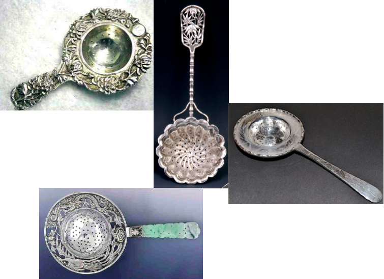 Assorted 19th century Chinese Export tea strainers