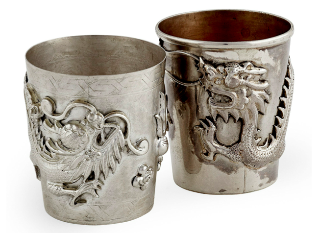 Chinese Export Silver pair of Lao Tian Bao beakers