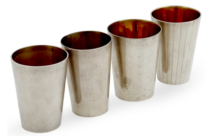 Chinese Export Silver Zee Wo Beakers