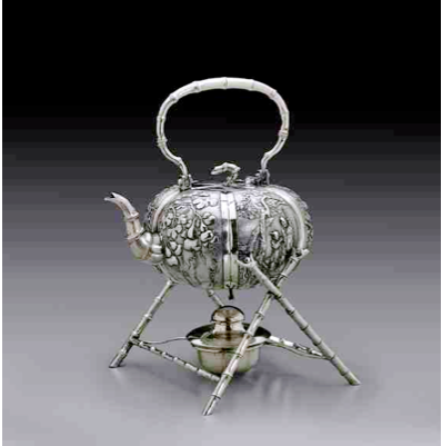 Luen Wo 19th century Chinese Export Silver tea kettle and stand