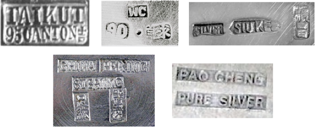 Chinese Export Silver maker's marks selection