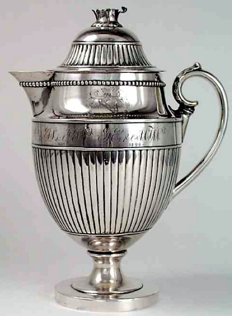 Early 19th century Chinese Export Silver lidded cider jug by Sun Shing