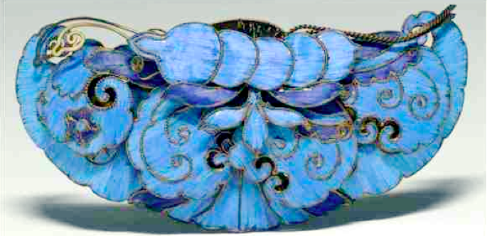 19th century Chinese Export Silver & Tian Tsui butterfly hair ornament