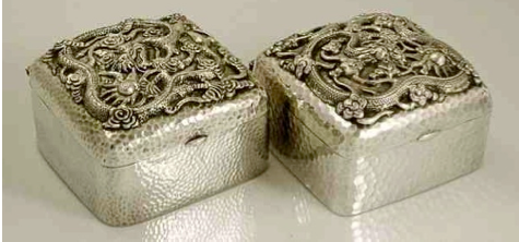 Late 19th century Chinese Export Silver tea boxes ny Tu Mao Xing