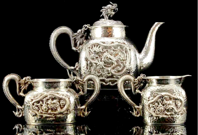 Late 19th century Chinese Export Silver tea set by Tu Mao Xing