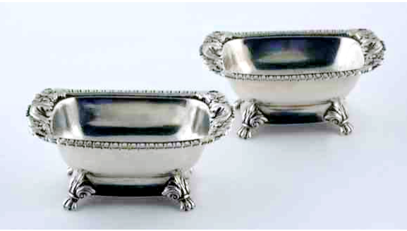 Chinese Export Silver 1815 pair of open salts