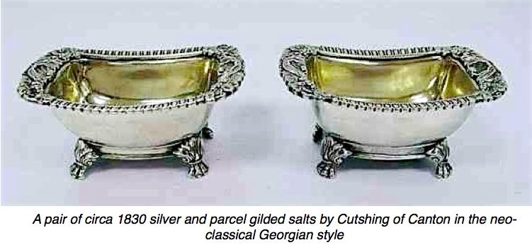 Chinese Export Silver Cutshing pair of open salts