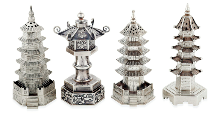 Chinese Export Silver pagoda pepperettes