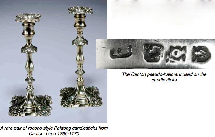 Paktong candlesticks & makers mark