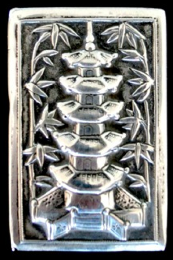 Chinese Export Silver Kwong Man Shing Matchbox Slip Cover