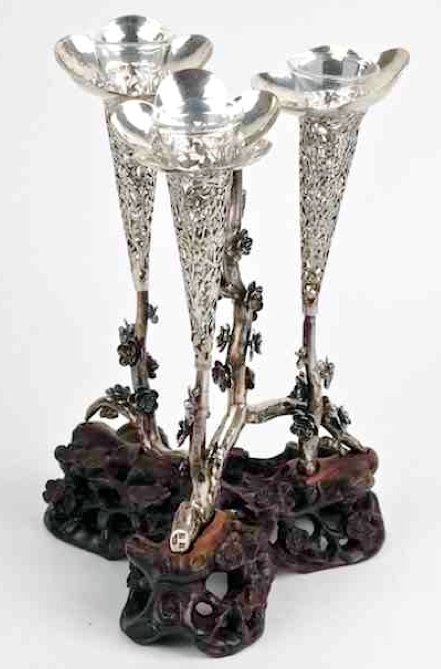Chinese Export Silver Sing Fat epergne