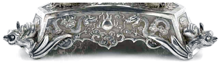 Chinese Export Silver Wang Hing epergne base detail