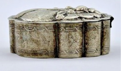 Chinese Export Silver Wu Hua Box side detail