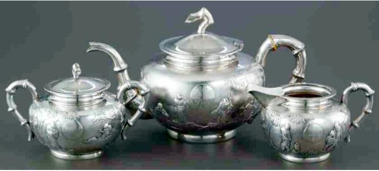 Chinese Export Silver Guang Ji tea set