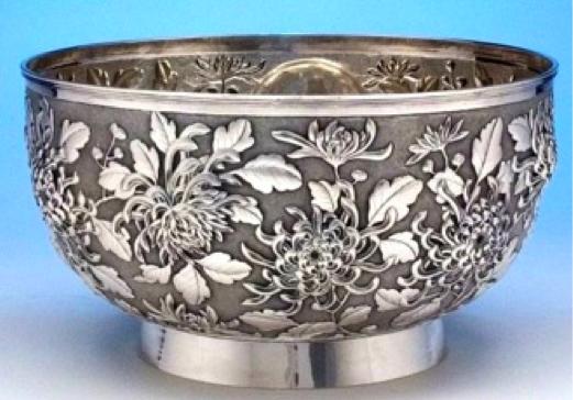 Chinese Export Silver Bowl by Hung Chong