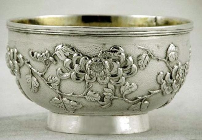 Chinese Export Silver Bowl by Wang Hing
