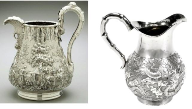 Chinese Export Silver jug by Wang Hing and a Tiffany Jug