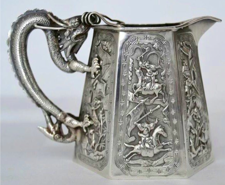 Chinese Export Silver Milk Jug by Tu Mao Xing
