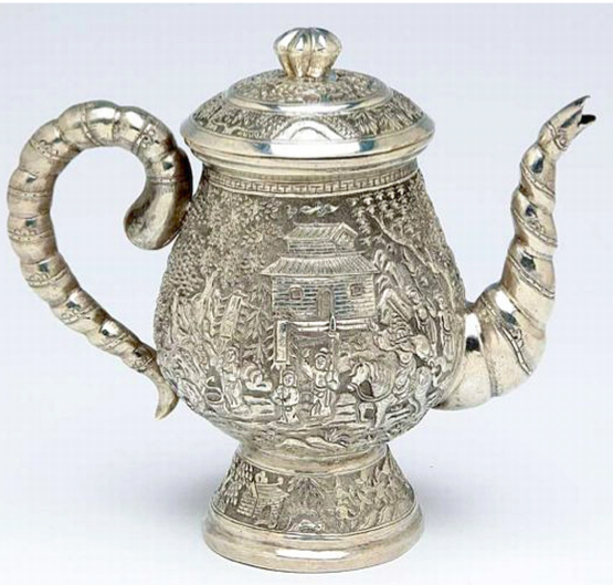 Chinese Export Silver Lee Ching teapot