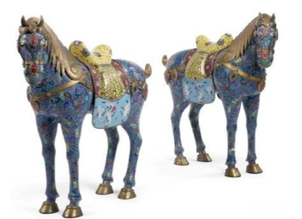 Pair 19th Century Chinese silver horses with champleve enamel