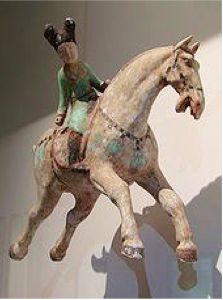 #ChineseExportSilver: Tang Dynasty Lady on Horseback Playing Polo