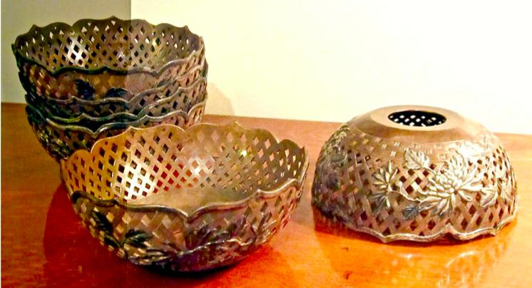 Chinese Export Silver Wang Hing set of 6 bowl covers