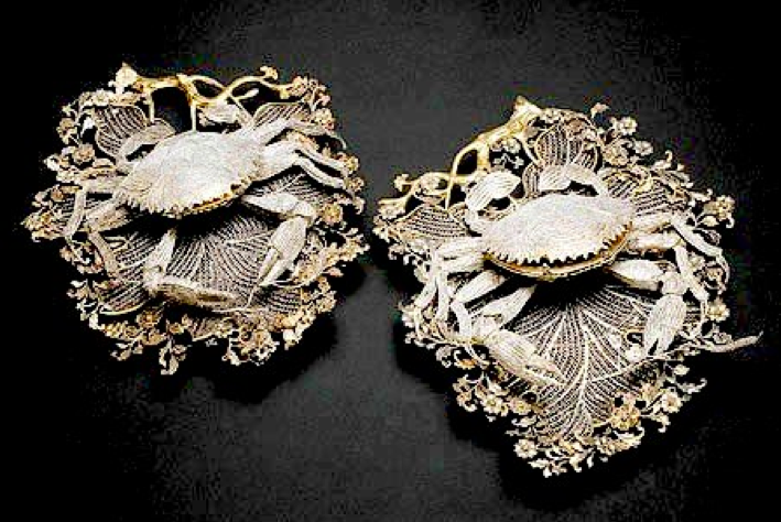 Chinese Export Silver filigree boxes on trays