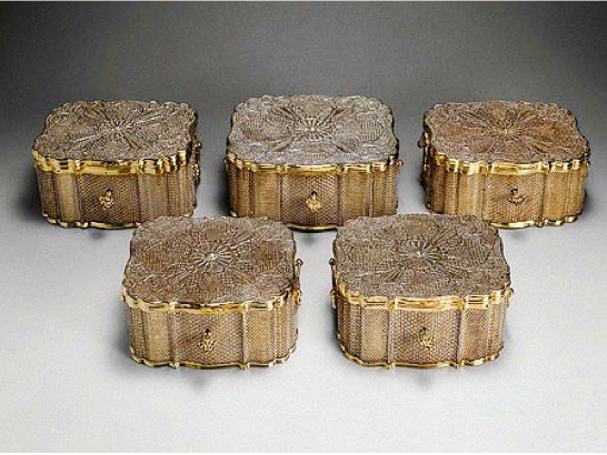 Chinese Export Silver filigree caskets