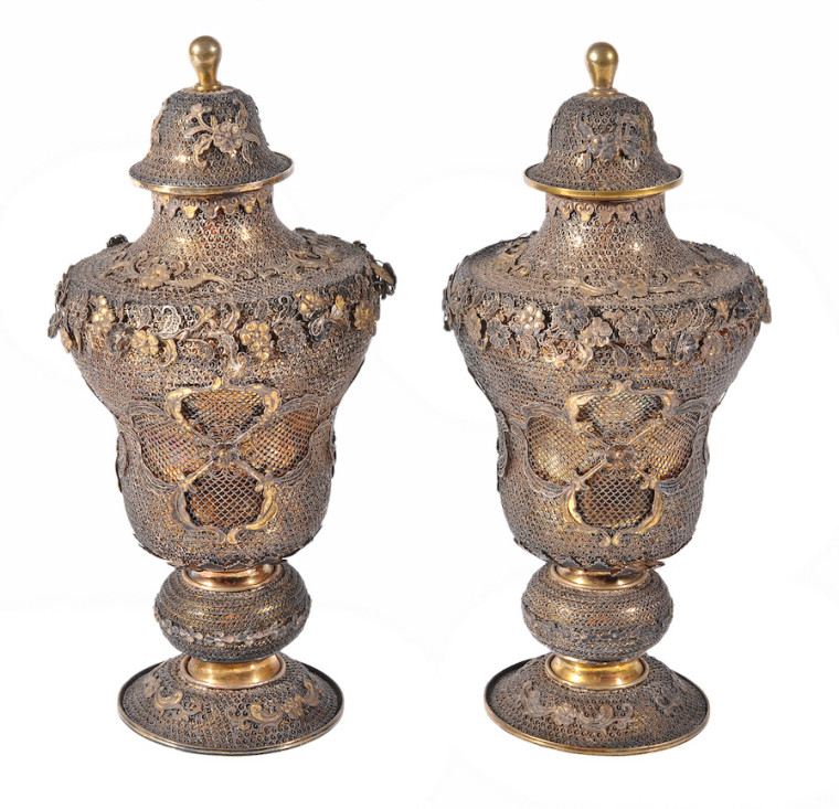 Pair of Chinese Export Silver filigree lidded urns circa 1800