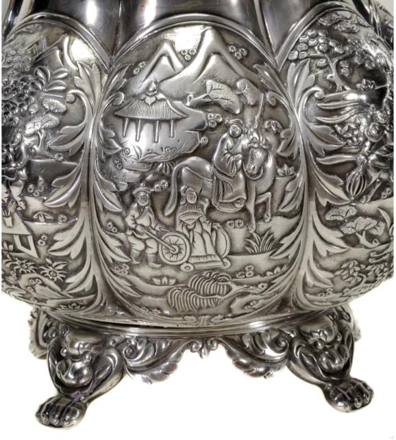 Wong Shing Chinese Export Silver Teapot Detailing