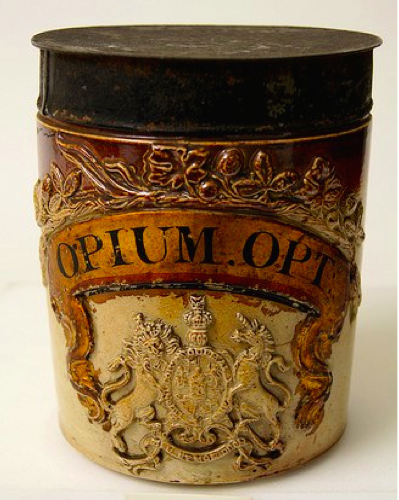 #ChineseExportSilver 18th Century English Glazed Pottery Opium Jar