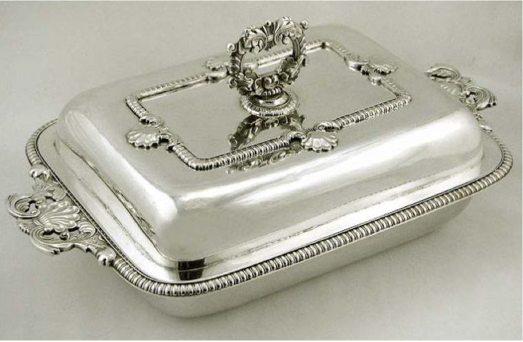 Cutshing Chinese Export Silver Lidded Entree Dish