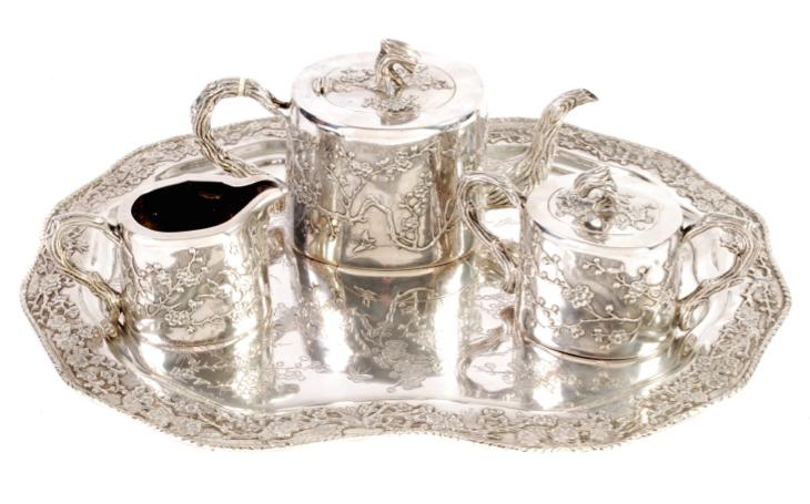 Luen Wo Chinese Export Silver Tea Set & Tray