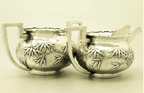 Sincere Company Chinese Export Silver Creamer & Sugar Bowl