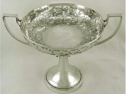 Sincere Company Chinese Export Silver reticulated tazza