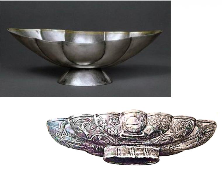 Tang Dynasty Lobed Bowl & Sassanian Lobed Bowl
