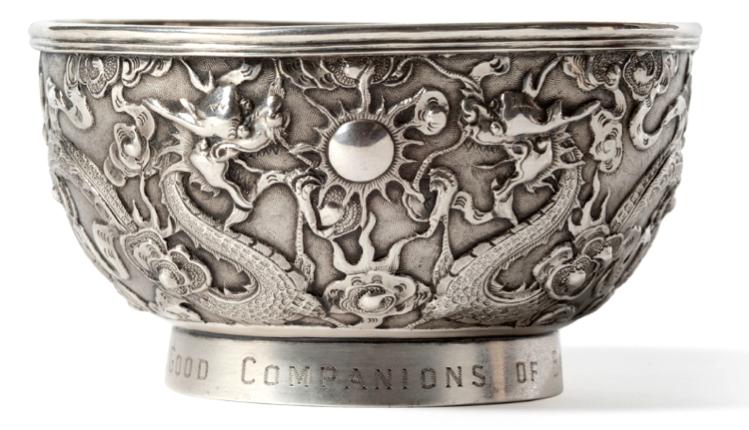 #ChineseExportSilver Wang Hing 1898 Chinese Export Silver Presentation Bowl