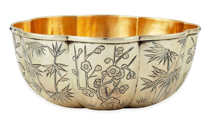 Wang Hing Chinese Export Silver 8 Lobed Bowl