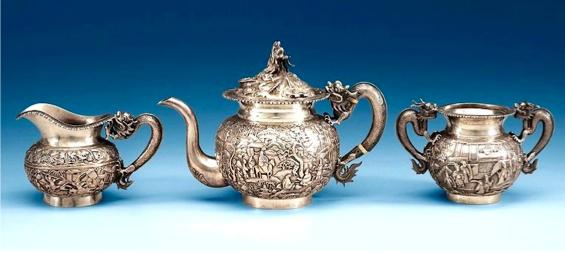 Wang Hing Chinese Export Silver Tea Set circa 1890