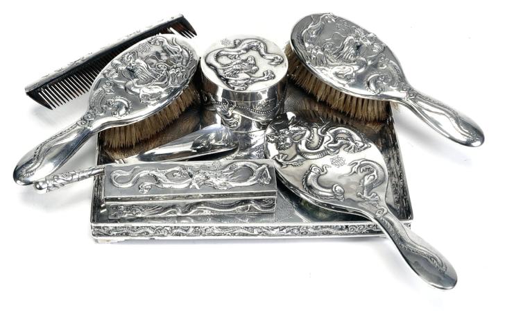 Wang Hing Chinese Export Silver Dressing Table Set
