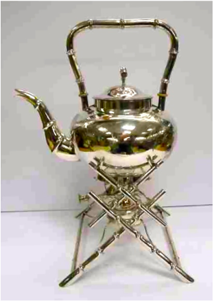 Wing On Chinese Export Silver Tea Kettle and Stand