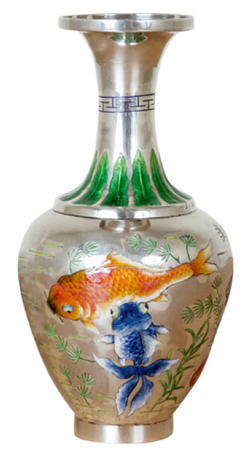 Chinese Export Silver De Tian Li Silver and Enamel Vase