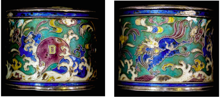 Chinese Export Silver and Cloisonne Canister by Jing Fu