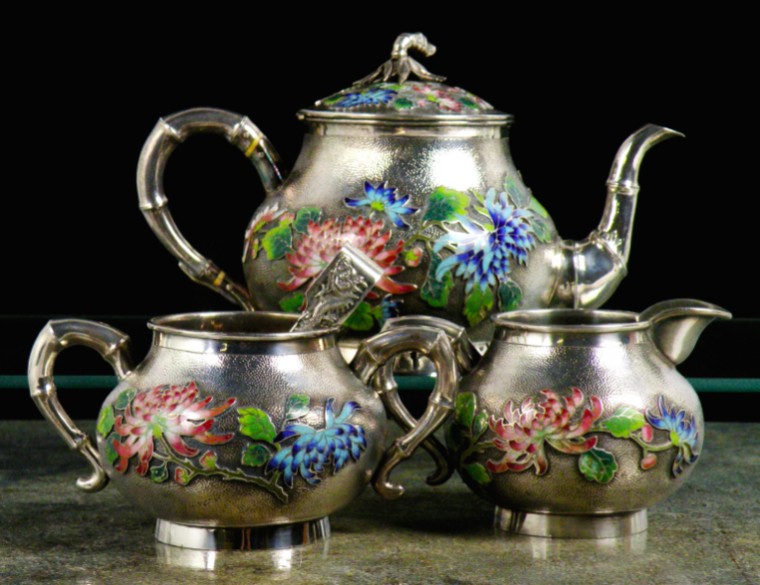 Chinese Export Silver Wo Shing Cloisonne and Silver Tea Set