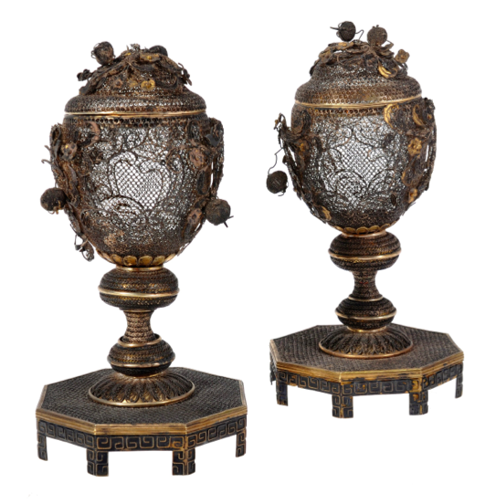 Chinese Export Silver filigree vases